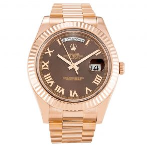 Rolex Day-Date II 218235 Mens 41 MM Chocolate Roman Numeral Automatic Watch