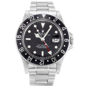 Rolex GMT Master 16750 Mens 40 MM Black Automatic Steel Watch