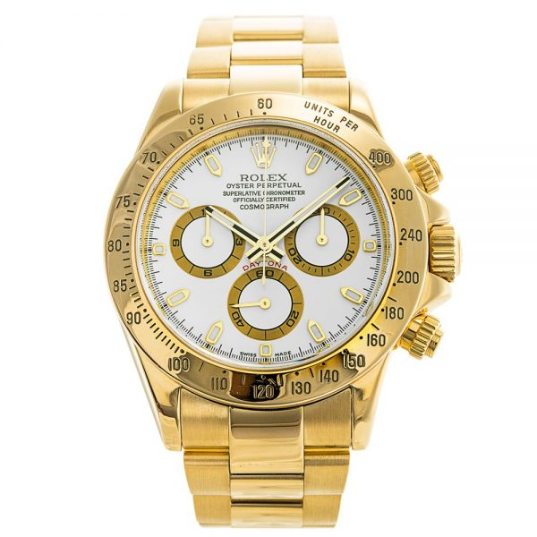 Rolex Daytona 116528 Mens White Automatic 40 MM Gold Plated Watch