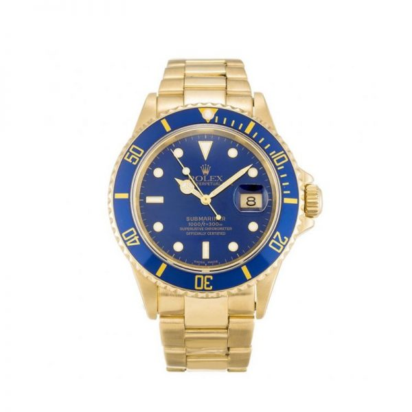 Rolex Submariner 16618 Mens 40 MM Blue Automatic Steel Watch