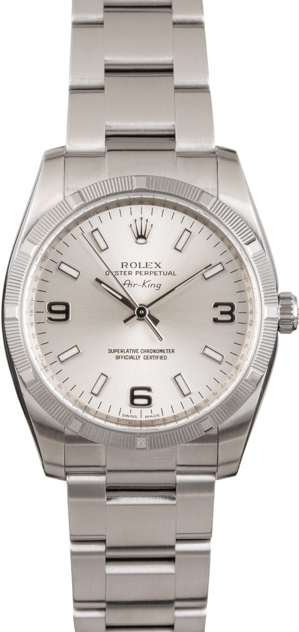 Air-king Rolex 114210 Men's Case 34mm Stainless Steel