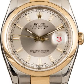Rolex Datejust 116203 Men's Dial Silver 18k Yellow Gold Oyster