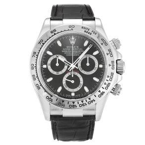 Rolex Daytona 116519 Mens Black Leather Automatic 40 MM Steel Watch