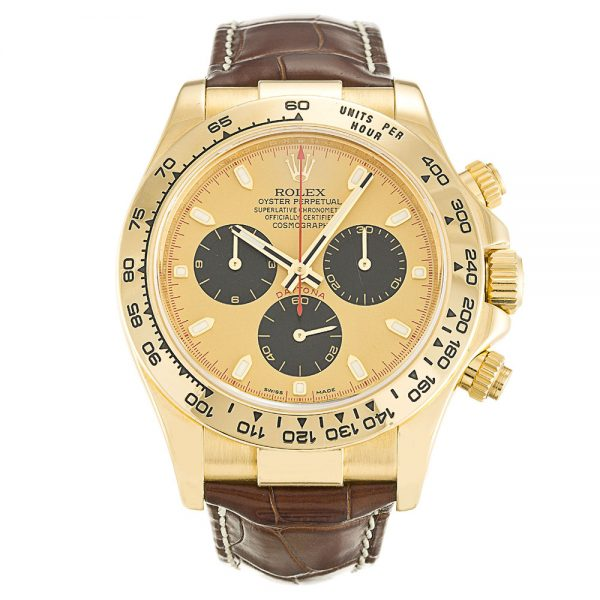 Rolex Daytona 116518 Mens 40 MM Automatic Gold/Brown Leather Watch