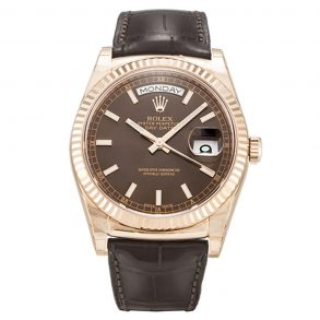 Rolex Day-Date 118135 Mens 36 MM Automatic Chocolate Baton Watch