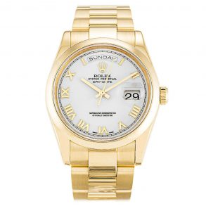 Rolex Day-Date 118208 White Roman Numeral Automatic 36 MM Mens Watch