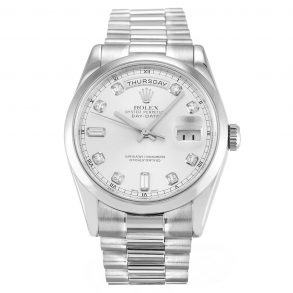 Rolex Day-Date 118209 Mens 36 MM Automatic Silver Diamond Steel Watch