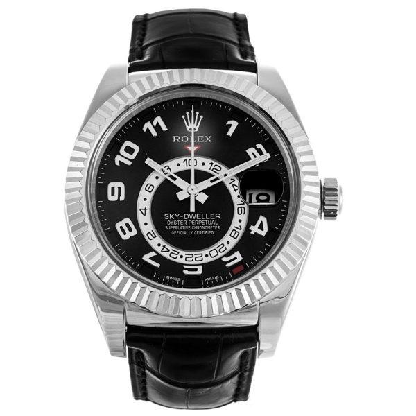 Rolex Sky-Dweller 326139 Black Leather Automatic Mens 42 MM Watch