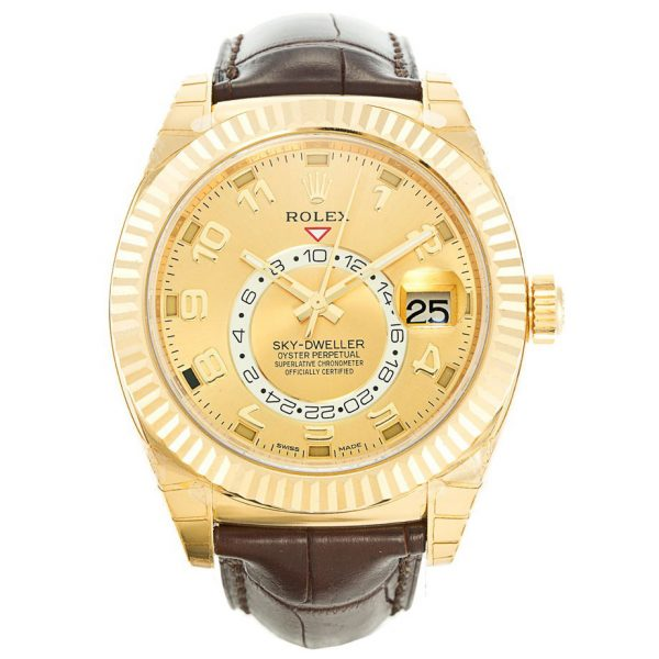 Rolex Sky-Dweller 326138 Mens 42 MM Automatic Gold Leather Watch