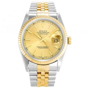 Rolex Datejust 16233 Mens 36 MM Automatic Gold Plated Watch