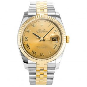 Rolex Datejust 116233 Mens 36 MM Automatic Gold Plated Steel Watch
