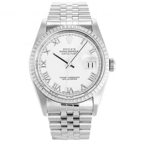 Rolex Datejust 16220 Mens 36 MM Automatic White Steel Watch