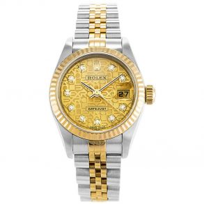 Rolex Datejust 79173 Ladies 26 MM Gold Plated Steel Automatic Gold Watch
