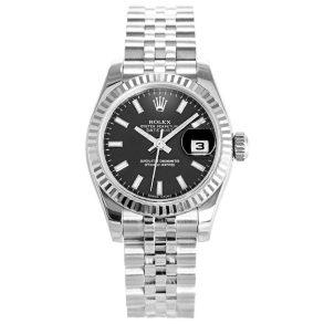 Rolex Datejust 179174 Black Automatic 26 MM Ladies Steel Watch