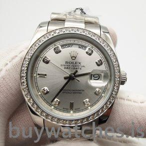 Rolex Day-date 118346 Silver Gray 36 mm Diamonds Automatic Watch