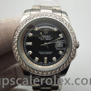Rolex Day-Date 218349 Mens 41 mm Black With Diamonds Automatic Watch