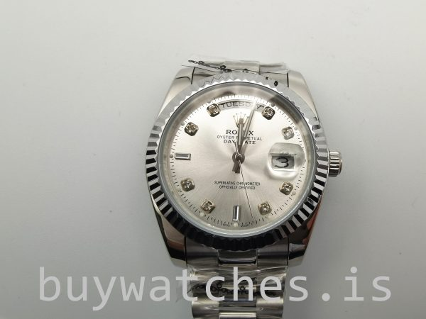 Rolex Day-Date 128239 Mens 36mm Diamond Dial Silver Dial Automatic Watch