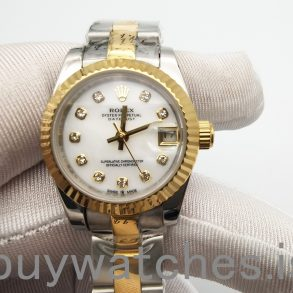 Rolex Datejust 116233 Fluted 18K Gold Two Tone Oyster Watch 36 White Diamond Dial