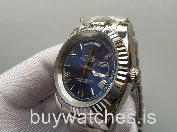 Rolex Day-Date 228239 Mens 40mm Blue 18kt White Gold Automatic Watch