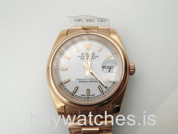 Rolex Datejust 4467 Unisex 36 Mm 18k Rose Gold Automatic Watch