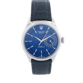 Rolex Cellini Date 50519 Mens 39mm Steel Blue Automatic Watch