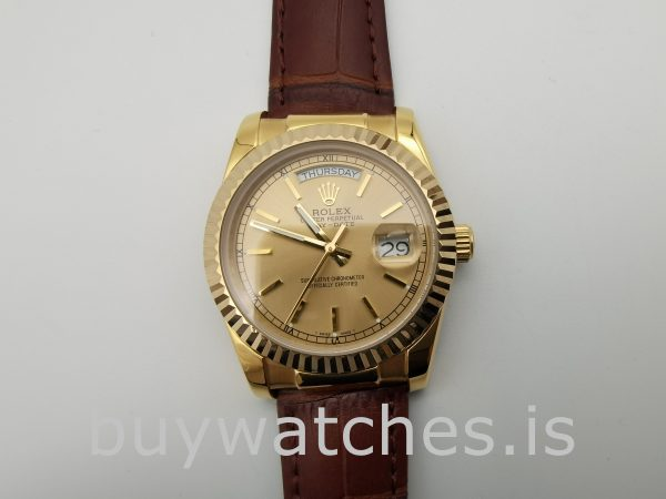 Rolex Day-Date 1503 Unisex Gold Crocodile Skin 34 mm Automatic Watch