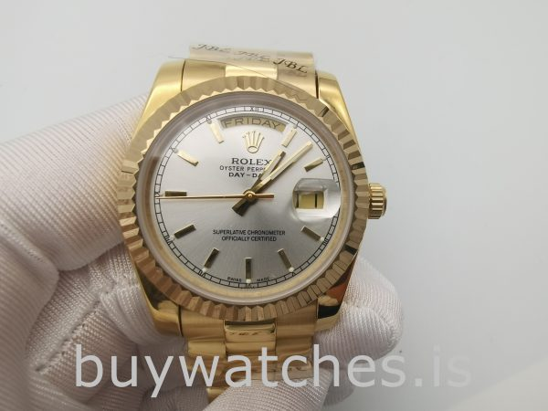 Rolex Day-Date 18238 Yellow Gold Mens 36mm Automatic Silver Dial Watch