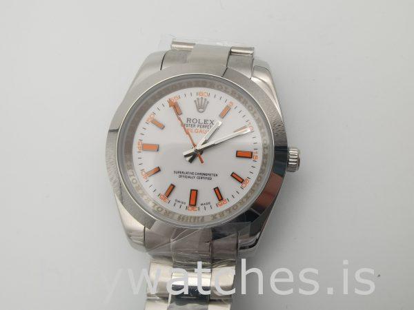 Rolex Milgauss 116400 Mens 40mm Orange Steel Automatic Watch