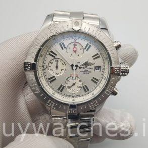 Breitling Super Avenger A13370 White 48mm Steel Automatic Watch