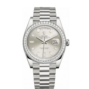 Rolex Day-Date 228349RBR Silver Dial 40mm Men's Automatic Watch