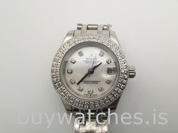 Rolex Datejust 81339 White Dial 34mm Ladies 31 Jewels Automatic Watch
