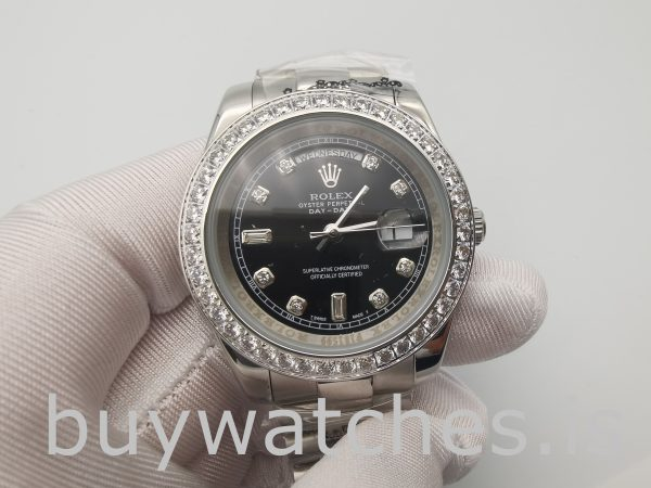 Rolex Day-Date 228349rbr Men's 40mm Black Dial Automatic Watch