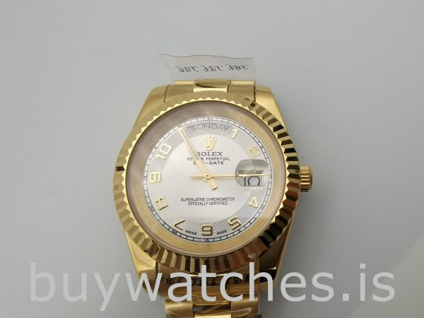 Rolex Day-Date II 218238 Men's 41mm Silver Dial Automatic Watch
