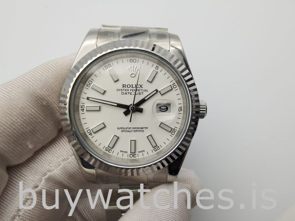 Rolex Datejust 116300 Mens 41mm White Dial Steel Automatic Watch
