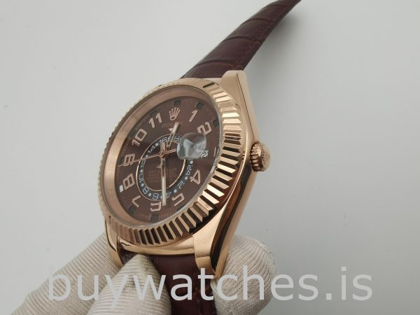 Rolex Sky-Dweller 326135 Leather Chocolate Dial 42mm Automatic Watch