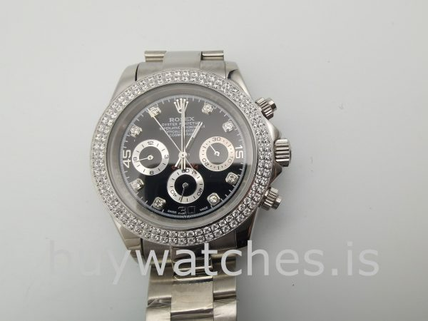 Rolex Daytona Diamond Bezel Balck Dial Women 40mm Automatic Watch