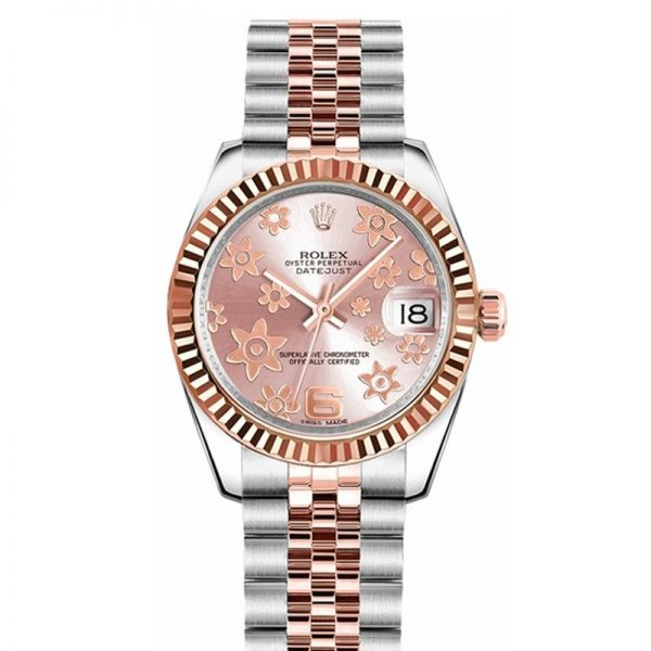 Rolex Datejust 178271 Unisex 31mm Pink Floral Dial Automatic Watch